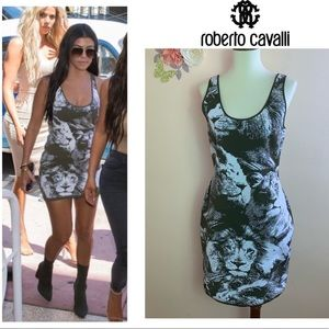 New! ROBERTO CAVALLI Stretchy Lion Bodycon Dress